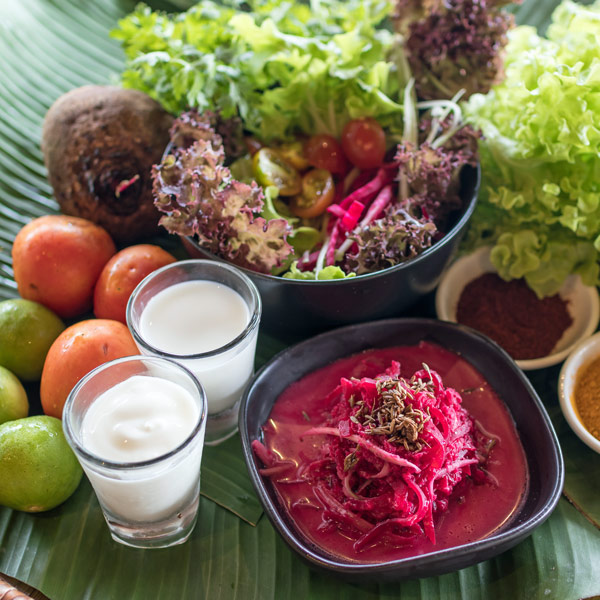 Vegetarian, vegan, organic healthy food and drinks at Mangosteen Ayurveda & Wellness Resort, Rawai, Phuket.